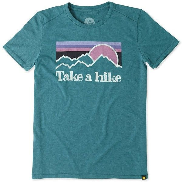 Life Is Good Take a Hike Tee (79 RON) ❤ liked on Polyvore featuring tops, t-shirts, shirts, tees, beachy teal, graphic design t shirts, blue shirt, life is good t shirts, graphic shirts and short sleeve t shirt