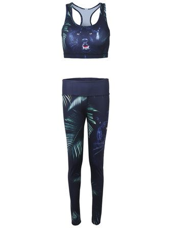 Sexy Women 3D Leaf Tiger Printed Slim Fitness Yoga Sport Tracksuit at Banggood
