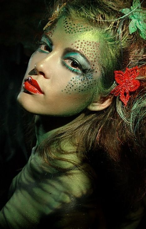 I love this make up!  Faerie, Mermaid or Alien maybe?