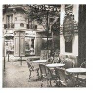 Tablou black&white cafenea pariziana