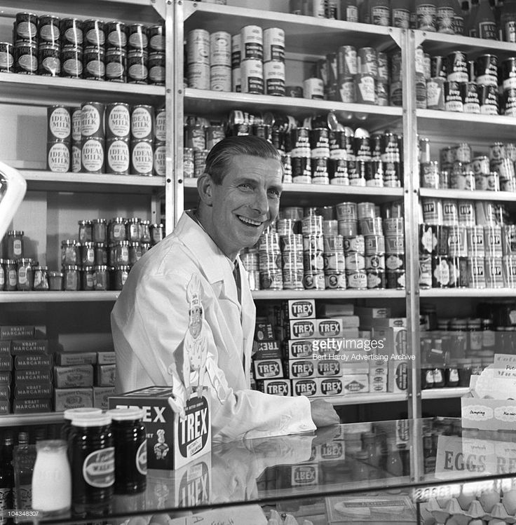A grocer in his shop, Tottenham, London, February 5 1958. (Photo by Bert Hardy Advertising Archive/Getty Images)