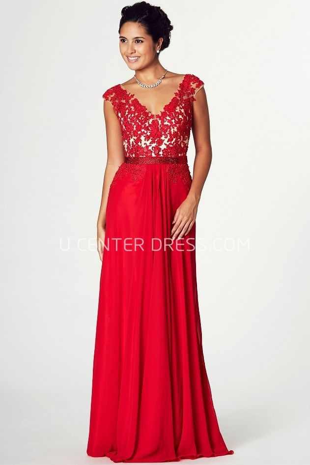 US$139.49-Chic V-Neck  Jersey Red Lace Wedding Guest Dress with Cap Sleeves. http://www.ucenterdress.com/appliqued-v-neck-cap-sleeve-jersey-prom-dress-pMK_301770.html. Shop for summer wedding guest dresses, fall wedding guest dress, wedding guest dress ideas, winter wedding guest dress, plus size wedding guest dress, formal wedding guest dress, beach wedding guest dress, black tie wedding guest dress, wedding guest dress with sleeves. wedding guest dress outdoor. We have great 2016 fall…