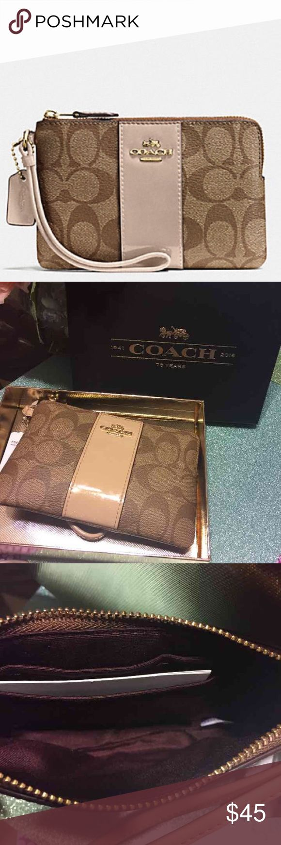 """COACH WOMEN WRISTLET IN SIGNATURE BOXED CORNER ZIP WRISTLET IN SIGNATURE COACH F54460 KHAKI PLATINUM Details Signature coated canvas Zip closure, fabric lining Credit card pockets Wrist strap attached 6 1/4"""" (L) x 4"""" (H) Packaged in a Coach gift box  COACH MSRP:$85 Coach Bags Wallets"""