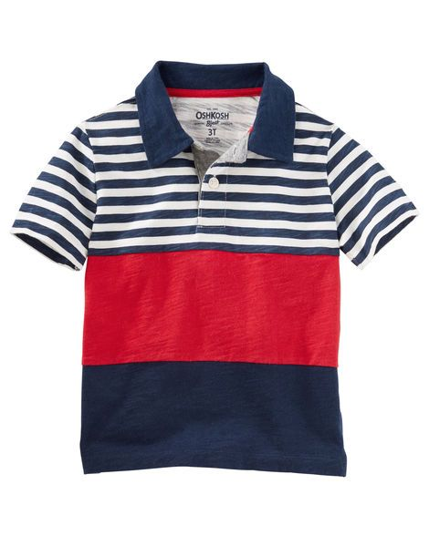 Toddler Boy Striped Colorblock Jersey Polo from OshKosh B'gosh. Shop clothing & accessories from a trusted name in kids, toddlers, and baby clothes.