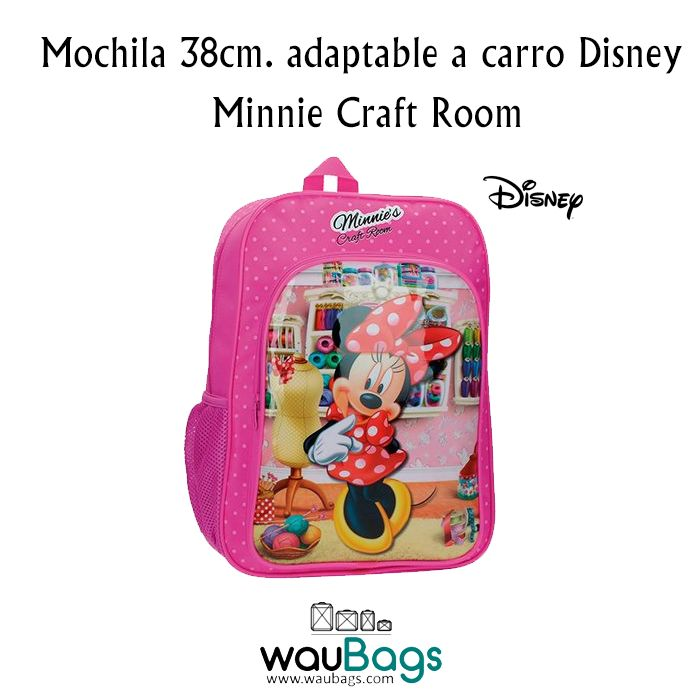 """La Mochila Disney """"Minnie Craft Room"""" adaptable a carro, tiene un compartimento principal con cierre de cremallera, un bolsillo delantero y un bolsillo lateral de rejilla donde podrás colocar una botella de agua pequeña y un asa en la parte superior. @waubags.com #disney #minnie #mochila #niña #escolar #cole #papeleria #waubags"""