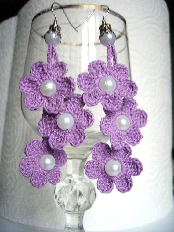 pendientes de ganchillo crochet flores pendientes por JewelrySpace