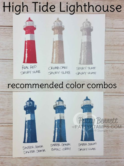 Suggested color combos for stamping the Stampin' Up! High Tide lightouse set, by Patty Bennett
