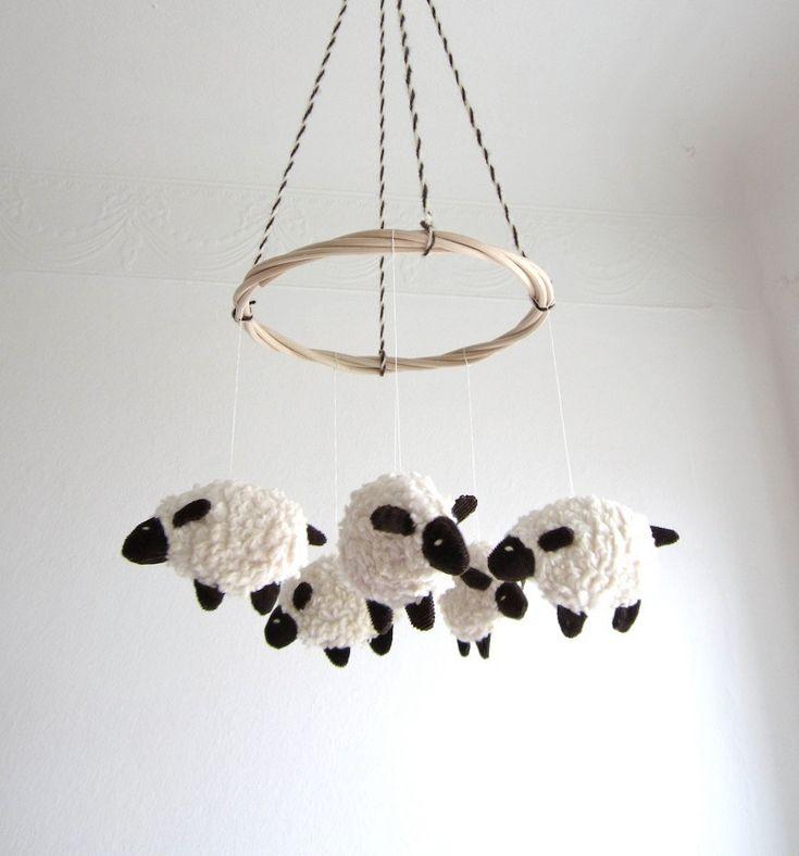 Baby mobile, sheep, lamb, nursery decor, baby gift, shower gift, white, brown, cozy $80.00, via Etsy.