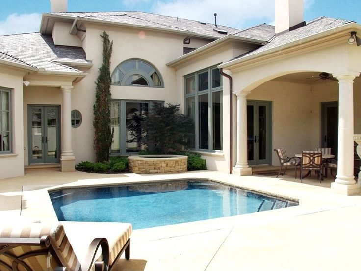Traditional Hot Tub with exterior stone floors