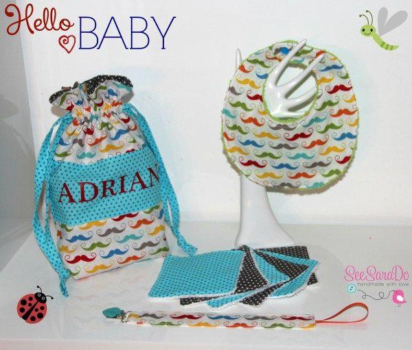 Cadeaux de naissance fait maison: sac à doudou, attache-tétine, bavoir & lingettes