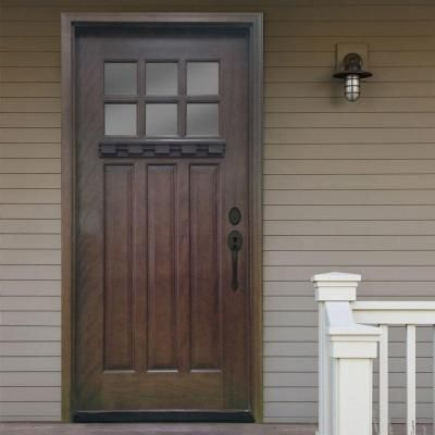 Steves u0026 Sons 36 in. x 80 in. Craftsman 6 Lite Stained Mahogany Wood Prehung Front Door & 33 best front door images on Pinterest | Front entrances Door entry ...