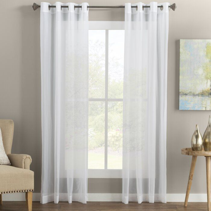 Medlin Solid Color Sheer Grommet Curtain Panels Panel Curtains
