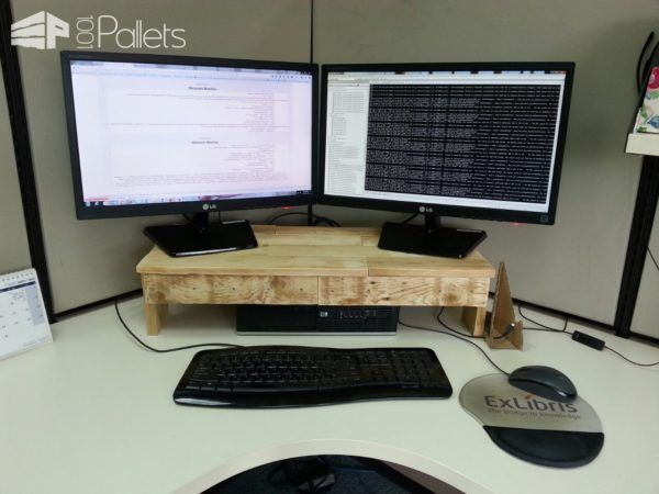 Pallet Monitor Stand Makes Desks More Ergonomic Pallet TV Stand & Rack