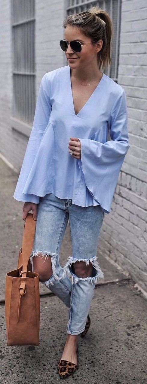 blue accents outfit