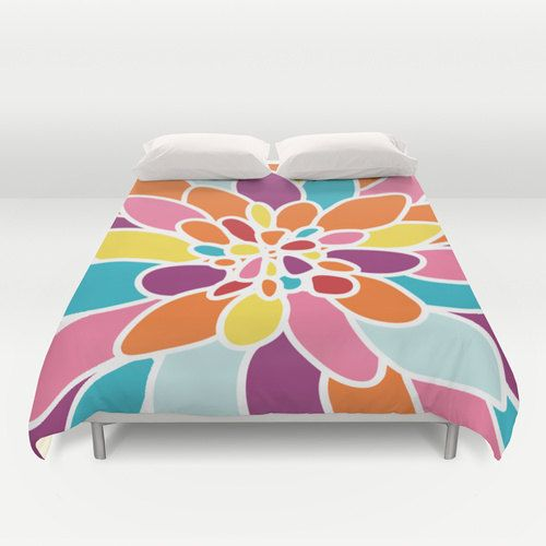 Colorful Modern Flower Duvet Cover - Queen Size Duvet Cover - King Size Duvet Cover - Bright Colors - Pink Yellow Orange Turquoise Purple