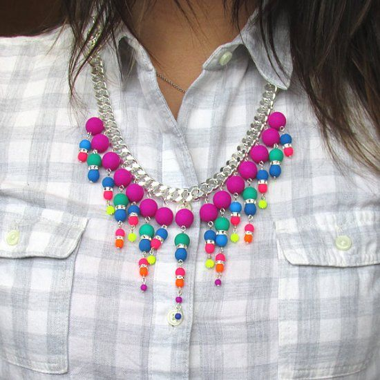 Neon Bib Necklace. Learn how to make this trendy statement beaded necklace with…