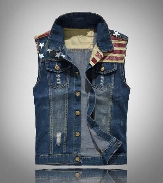 Men Denim Vest Fitted Collar Sleeveless Jean Jacket Trucker Waistcoat Size S-3xl Regular China S-xxxl