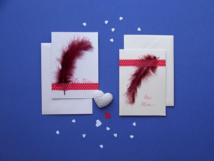 Pearly (wedding) cards with feather. * handmade by Lady Lu * #card #feather #wish #wedding #red #pearl #white #paper #handmade #ladylu #heart #love #svatba #prani #pirko #srdce #laska #milenci #ruda #bila