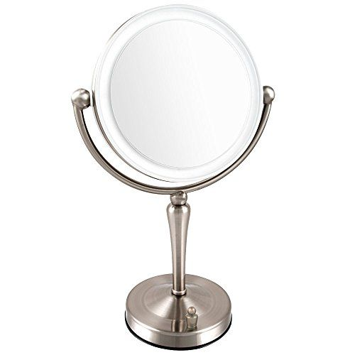 Ovente LED Lighted Tabletop Makeup Mirror, 1x/10x Magnification, 7.5 Inch, Nickel Brushed >>> Want additional info? Click on the image.