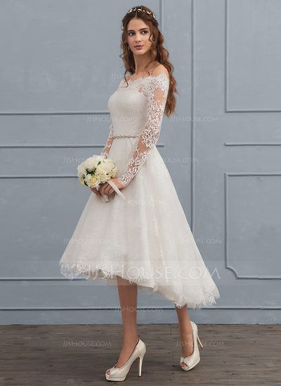 [US$ 174.19] A-Line/Princess Off-the-Shoulder Asymmetrical Lace Wedding Dress With Beading (002117112)