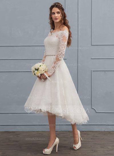 [€ 158.17] A-Line/Principessa Off-the-spalla Asimmetrico Pizzo Abiti da sposa con Perline (002117112)