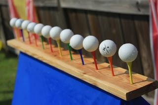 Lots of fall festival game ideas - the shooting gallery with golf tees, ping pong balls, and water guns looks like fun!