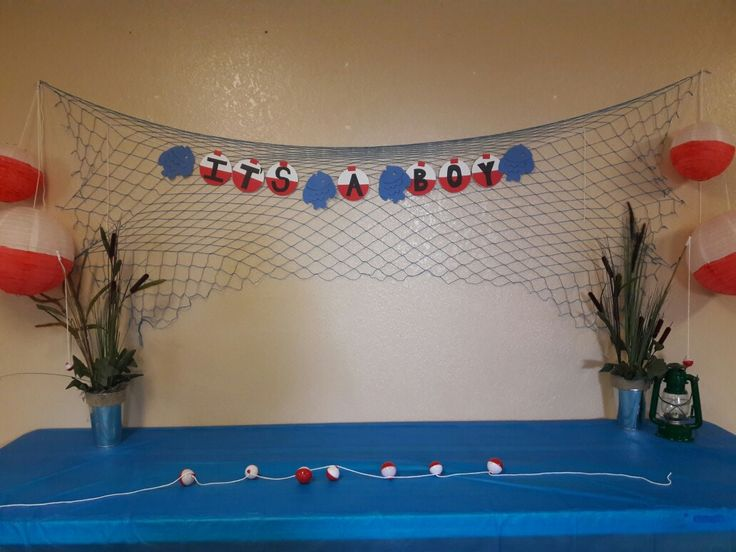 Fishing theme baby shower.                                                                                                                                                                                 More