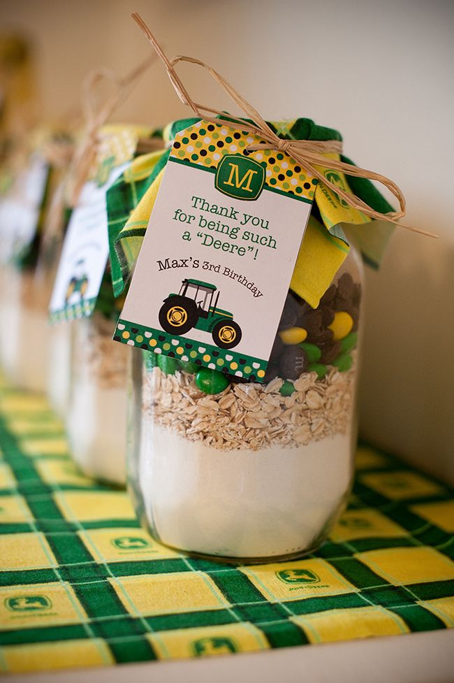 John Deere birthday party favors - cookie mix with printables from Chickabug