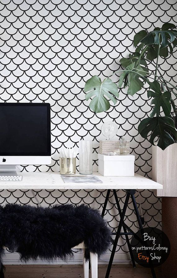 Minimalistic fish scales pattern, black and white wallpaper, removable,  reusable, self-adhesive wall mural