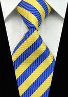 Giftset London - Stropdas Manchetknopen & Pochet!  Description: Blauwe en gele strepen bij een stropdas dat is nog eens uniek en het zorgt voor een bijzondere maar mooie uitstraling. Misschien ben je in de zomer wel toe aan wat meer kleur in je outfit en vind je het fijn om dat ook uit te stralen. Wacht dan niet langer want deze blauw met gele stropdas kan door iedere man gedragen worden. Een wit overhemd of een andere kleur? Er zijn erg veel combinaties mogelijk. Laat je daarom inspireren…