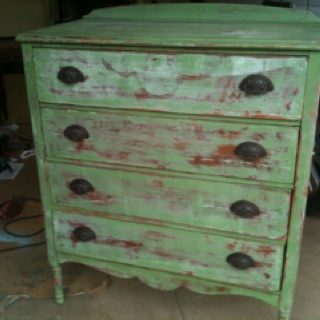Refinished antique chest dresser. Distressed, painted. Refurbished furniture: It Work