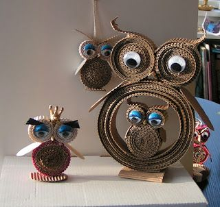 Corrugated Cardboard Owls Pinned by www.myowlbarn.com