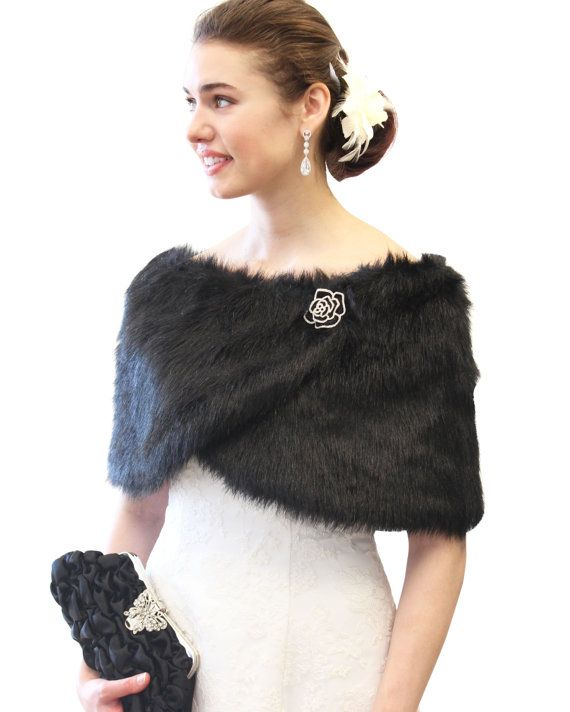 Black Faux Fox Fur Wrap Stole Shrug 306NFBLK by TionDesign on Etsy