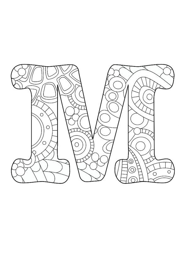 Letter M, initial, monogram, funky, color, coloring page, colored pencils