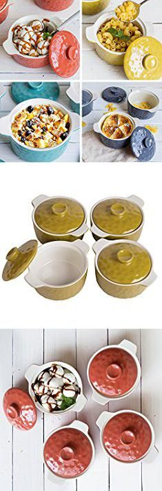 Round Bread Baking Pans. Bakeware Set, Krokori 8oz Mini Casserole Soufflé Dish Ramekins for Cooking, Kitchen, Cake Dinner, Banquet and Daily Use - ( Random Color, 4-Pieces of Mini Round).  #round #bread #baking #pans #roundbread #breadbaking #bakingpans