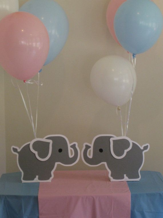 Elephant balloon holder centerpieces birthday party baby