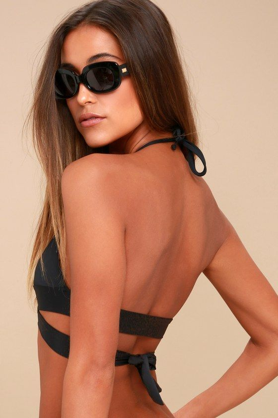 fbedca0ee5 Splash and play all day in the Water Work It Black Wrap Bikini Top! Sleek  stretch knit shapes this sexy swimsuit top with tying halter straps