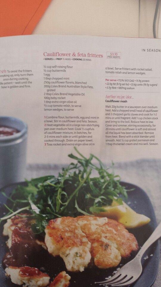 Cauliflower and feta fritters | Recipes | Pinterest