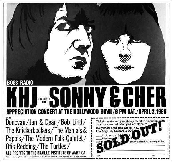 Yesterday 4-2 in 1966 I went to the Hollywood Bowl and saw this concert - Sonny &Cher, The Turtles, Jan & Dean, Otis Redding, Mamas & Papas and a few others. - - and as the ad here says, it was sold out.