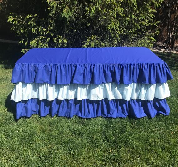 Royal Blue Ruffled Tablecloth with Light Blue Ruffle