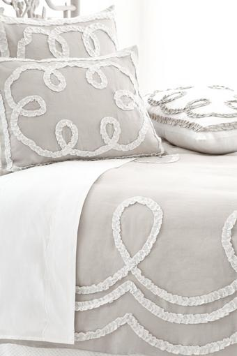 Ruched Linen, Platinum & White Bedding by Pine Cone Hill