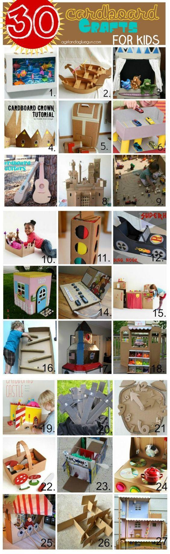 30 cardboard crafts for kids: