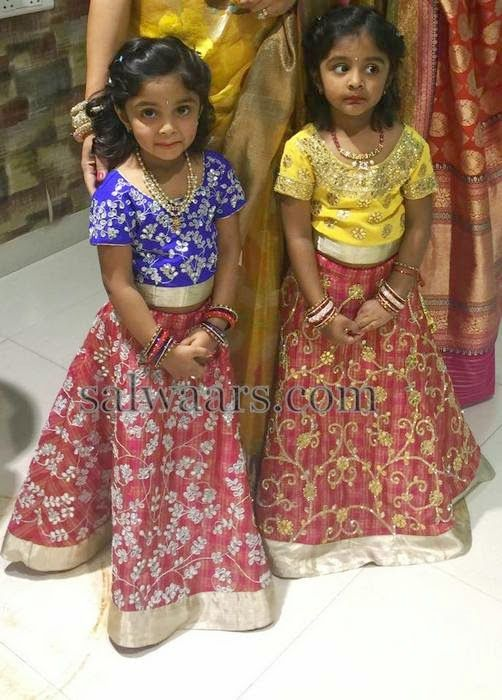 Manchu Vishnu Daughters in Designer Lehengas | Kids ...