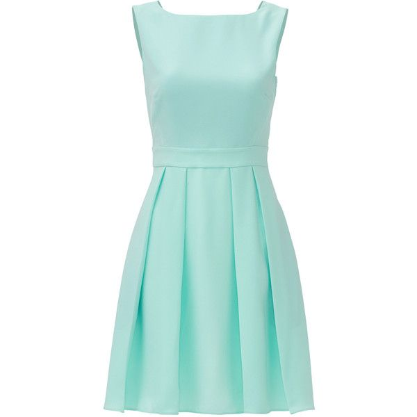 Rental kate spade new york Mint Bow Back Dress found on Polyvore featuring dresses, vestidos, green, no sleeve dress, full pleated skirt, green dress, kate spade dresses and crew neck dress