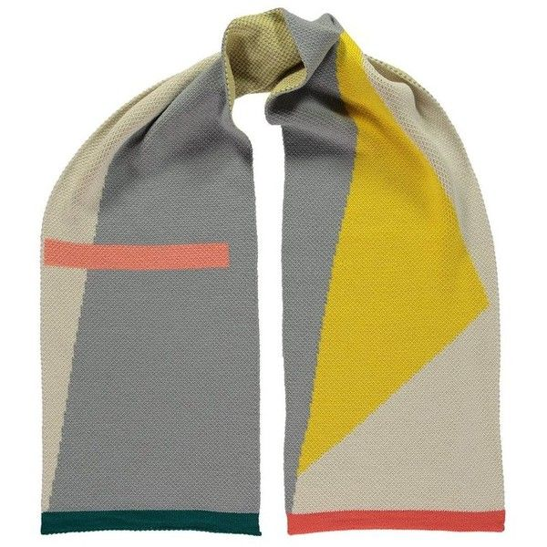 MISS POM POM Modernist Scarf - Grey & Yellow (1 360 UAH) ❤ liked on Polyvore featuring accessories, scarves, grey scarves, oversized scarves, yellow shawl, gray scarves and yellow scarves