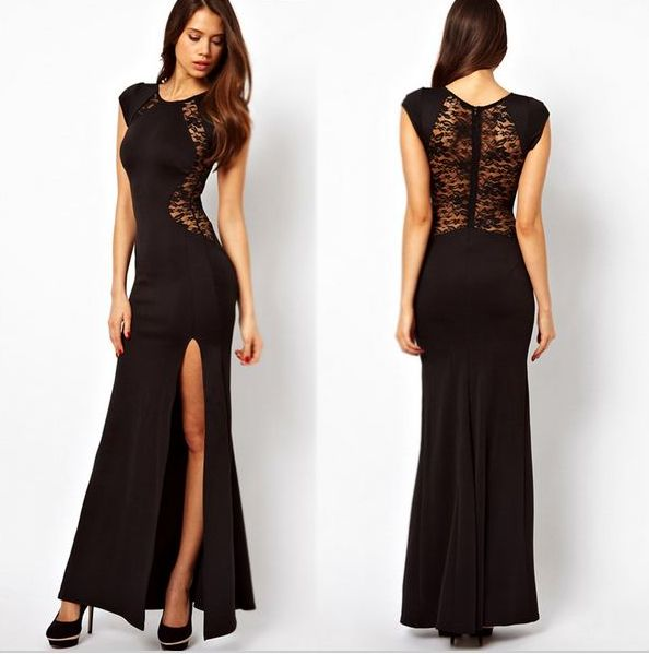 Simple light evening dress, with a leg cut outMaterial:Polyester,Nylon
