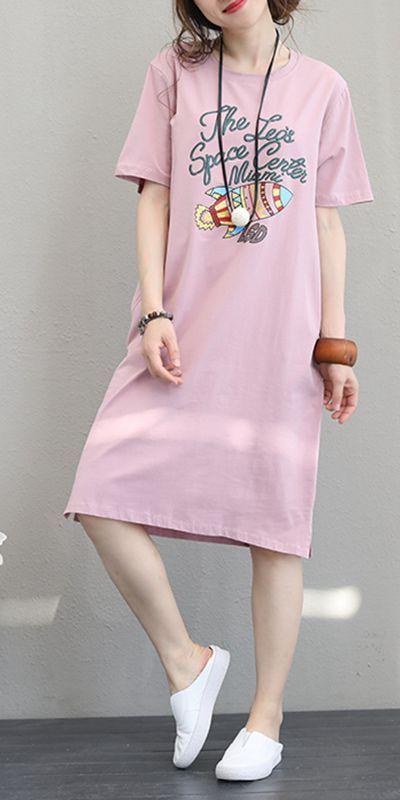 47c78a6f6e4 CUTE PRINT LONG DRESSES WOMEN COTTON CLOTHES Q1161