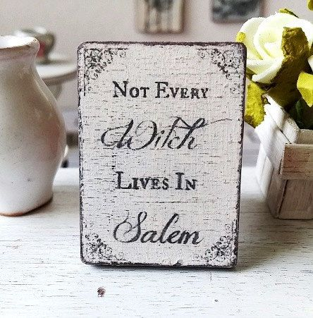 Dollhouse salem halloween sign  miniature witches by DewdropMinis
