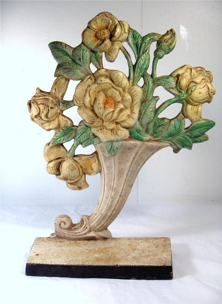 Hubley cast iron cornucopia flower basket doorstop. Vintage ... - 546 Best Vintage Cast Iron Doorstops. Images On Pinterest Door