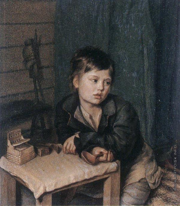 Зеленцов Капитон Алексеевич [1790—1845] Мальчик у стола. Вторая половина 1820-х
